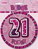 Unique Party 6-Inch Glitz Giant 21st Birthday Badge (Pink)