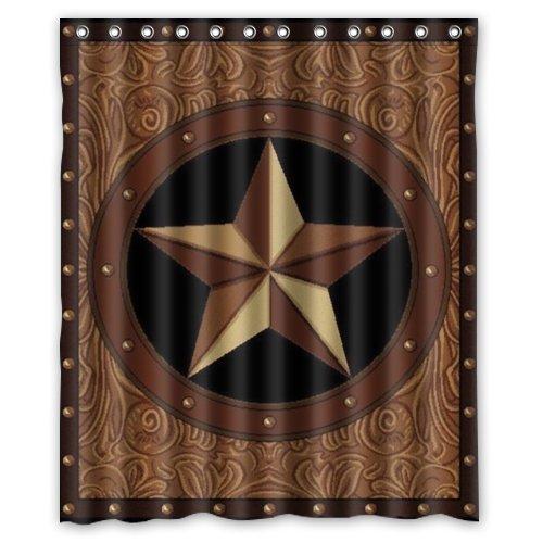 Western texas star polyester bathroom shower curtain 60 w - Star shower ebay ...