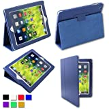 BESDATA PU Leather Flip Case Magnetic Folio Smart Cover [Wake/Sleep Function] for Apple iPad 2 / iPad 3 (The New iPad) / iPad 4 (iPad with Retina Display) + Screen Protector + Stylus + Cleaning Cloth, Blue - A8002