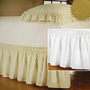 """NEW WRAP AROUND BED SKIRT / DUST RUFFLE - 18"""" DROP, QUEEN/KING, WHITE"""