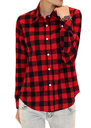 BomDeals Womens Soft Long Sleeve Classic Casual Plaid Cotton Flannel Shirt (L, Black Red) (Red And Black Hooded Flannel compare prices)