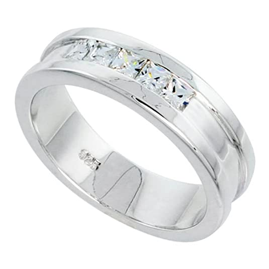 Revoni Gent's Perfect Quality Sterling Silver Brilliant Cut Cubic Zirconia Ring (Available in Sizes P to Z)