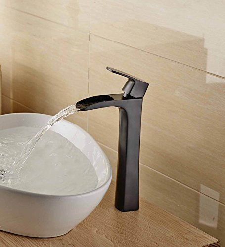 Aquafaucet Tall Oil Rubbed Bronze Waterfall Bathroom Faucet Sink Mixer Tap Open Channel