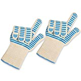 NEW CUTTING EDGE Silicon heat resistant long oven gloves. Best for grilling&baking withstands 662F over 15sec EN407 standard Super grip non slip mitts Use in microwave & camping barbeque