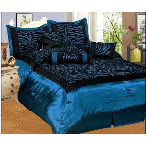 silk comforter sets best price cheapest lowest 7pc blue black zebra faux silk flock printing. Black Bedroom Furniture Sets. Home Design Ideas