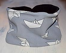 Braga de cuello ajustable con estampado de Barcos, bufanda infinita con forro polar en la cara interna y snaps de plástico, disponible en tallas de recién nacido hasta 6 años.