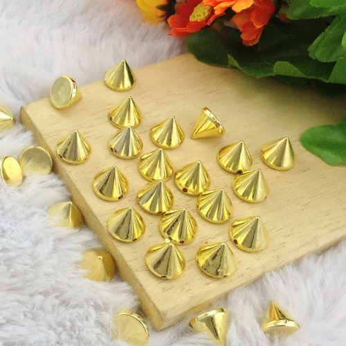 Ottery Acrylic Bullet Cone Spikes Gold Color About 100pcs 10x8mm Stud Rock Bracelet Pyramid Punk Belt Bag Flat Back Conical Findings Supplies by Homat