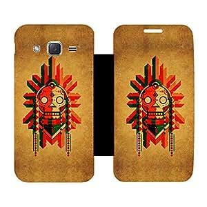 Skintice Designer Flip Cover with Vinyl wrap-around for Samsung Galaxy J2, Design - Creative Skull