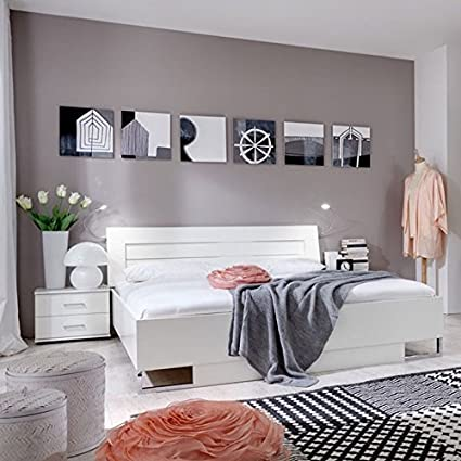 Doppelbett Andara 05, Farbe: Weiß - Liegefläche: 160 x 200 cm (B x L)