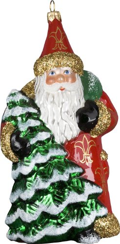 Ino Schaller Blown Glass Evergreen Red Santa Ornament by Joy To The World Collectibles