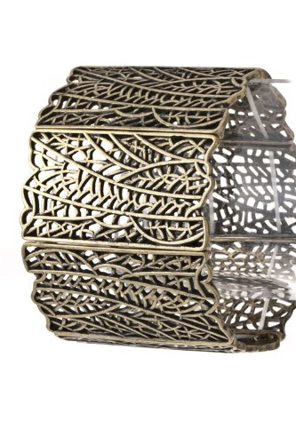 Trendy Fashion Jewelry Patterned Metal Bracelet By Fashion Destination | (Antique Gold)