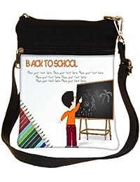 Snoogg Cute Boy Standing In Front Of Blackboard Cross Body Tote Bag / Shoulder Sling Carry Bag