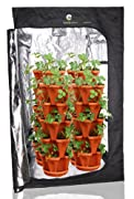 (36) Mr. Stacky Individual Stacking Vertical Gardening Pots - Custom Build Your Own Hydroponics / Aquapoincs / Soil Growing System - Use These Containers To Grow Vegetables, Herbs, Strawberries, Peppers, Lettuce, and Much More - Indoors or Outdoors - Terra Cotta Plastic Stackable Planters For Gardening