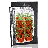 (36) Mr. Stacky Individual Stacking Vertical Gardening Pots - Custom Build Your Own Hydroponics / Aquapoincs / Soil Growing System - Use These Containers To Grow Vegetables, Herbs, Strawberries, Peppers, Lettuce, and Much More - Indoors or Outdoors - Terracotta Plastic Stackable Planters For Gardening