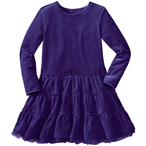 Hanna Andersson Little Girl Velour Tutu Twirl Dress, Size 100 (4T), Chateau Purple front-855407