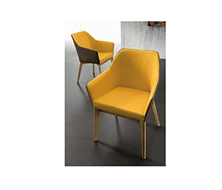 zamagna–Sillón Trafic zamagna–Estructura: Madera tinta Natural–Asiento Color tela amarillo/marrón