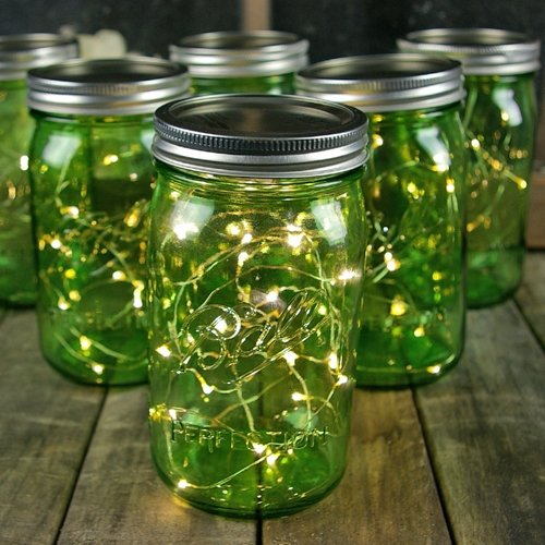 Green Mason Jar Fairy Lights, Quart, Wide Mouth, Warm White Fairy Lights, 6 Pack (Lighted Jars compare prices)