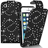 APPLE IPHONE 4 4S STYLISH CRYSTAL BLACK DIAMOND BLING LEATHER FLIP CASE COVER POUCH