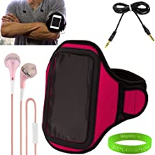 buy Lg Optimus L7 Ii Android Smart Phone Neoprene Exercise Armband ( Pink ) With Sweat Resistant Lining , Velcro Strap Extender , Key Pocket And Excess Earphone Cord Holder + Vangoddy Wrist Band + Pink Earbud Earphones With Remote + 6 Feet Male To Male Aux Ca