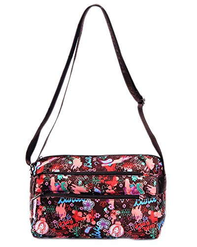 Createbag Women Retro Floral Messenger Cross-Body Handbag Satchel Tote Bag Ys022-Coffee