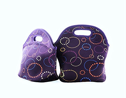 Sprucebay 2 Pc Lunch Bags for Women and Girls - Purple - 2 Piece Set- Great for School Lunches and Meals on the Go -Resuable Insulated Neoprene Keeps Food Cold