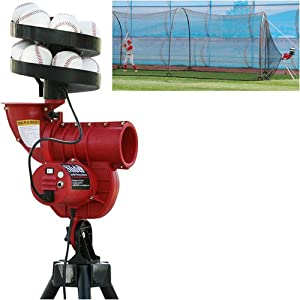 Slider Curve Lite-Ball Pitching Machine & Xtender 24 Batting Cage Combo by Heater Sports