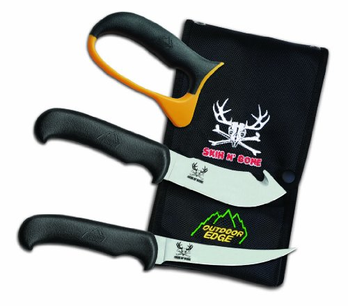 Outdoor Edge Cutlery Sn-1C 11-Inch Skin N' Bone With 4.25-Inch Gut Hook Skinner, 4.8-Inch Boning Knife And Carbide Sharpener With Nylon Sheath, Black