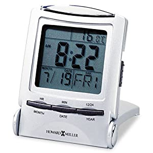 Howard Miller 645358 Distant Time Traveler Alarm Clock, 2-1/4in, Silver, 1 AAA (incl)