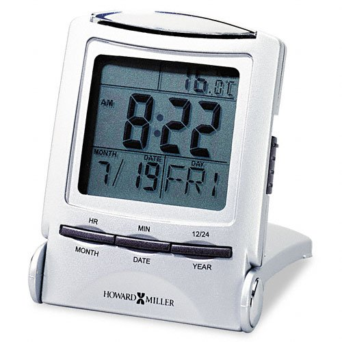 Howard Miller Products - Howard Miller - Distant Time Traveler Alarm Clock, 2-1/4in, Silver, 1 AAA (incl) - Sold As 1 Each - Illuminated time, date, day and temperature display. - Convenient five-minute snooze alarm. - Packs easily. - Easy setting. - Slee