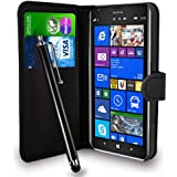 Nokia Lumia 1520 Black Leather Wallet Flip Case Cover Pouch + Free Screen Protector & Touch Stylus Pen + Polishing Cloth