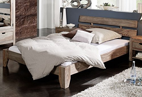 Sheesham massiv Holz Bett 140x200 Palisander Möbel Nature Grey #210