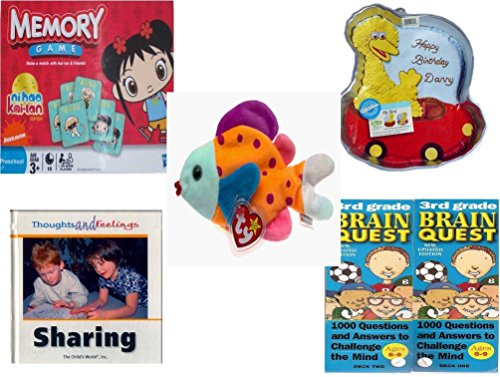 Children's Gift Bundle - Ages 3-5 [5 Piece] - Ni Hao Kai-Lan Edition Memory Game - Sesame Street Big Bird Cake Pan - Ty Beanie Baby - Lips the Fish - Sharing (Thoughts and Feelings) Hardcover Book (Brain Quest Grade 4 3rd Edition compare prices)