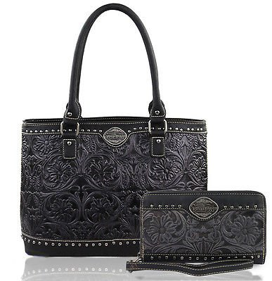 new-trinity-ranch-floral-tooled-leather-tote-wristlet-wallet-black-gray