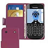 ITALKonline BlackBerry 9900 Bold Touch Purple PU Leather Executive Multi-Function Wallet Case Cover Organiser Flip with Credit / Business Card Money Holder