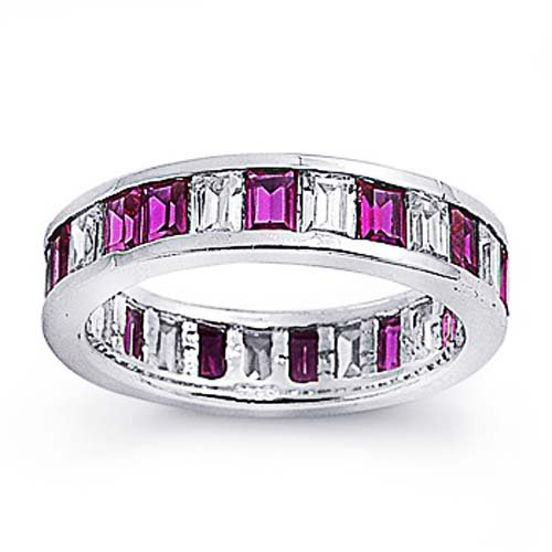 Little Treasures Rhodium Plated Sterling Silver Wedding & Engagement Ring Ruby, Clear CZ Eternity Band