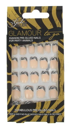 Girls with Attitude Glamour to Go Zebra Pre-glued Nails