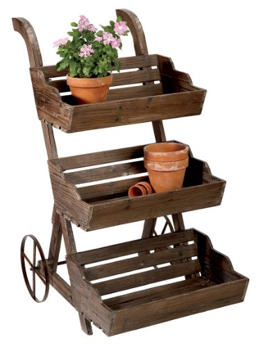 Midwest CBK Brown and Grey Wash 3-Tier Plant Stand Cart