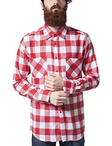 Urban Classics Herren Regular Fit Freizeit Hemd Checked Flanell Shirt, Gr. Kragenweite: 45 cm (Herstellergröße: XL), Mehrfarbig (wht/red 237)