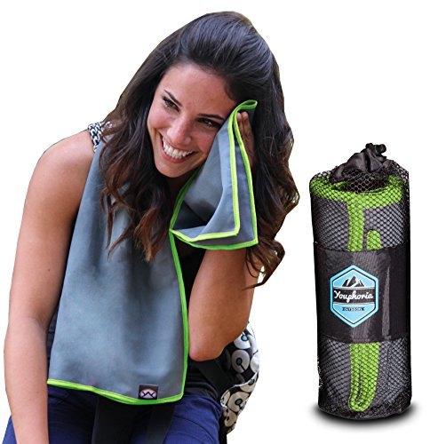 Youphoria Sport Microfiber Travel Towel and Sports Towels (Gray/Green - 32