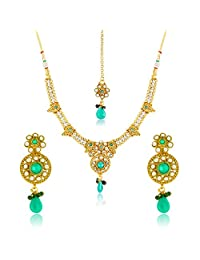 Traditional Ethnic Gold Plated Green Envy Necklace Set & Maang Tikka With Crystal For Women By Donna NM25023G