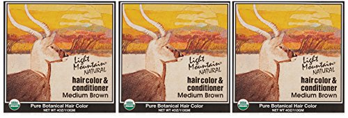 Light Mountain Natural Hair Color & Conditioner, Medium Brown, 4 oz (113 g) (Pack of 3) (Color Conditioner Brown compare prices)