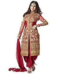 Shree Hans Creation Red Georgette Sherwani Dress Material