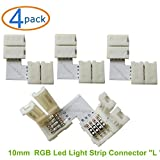 SoundOriginal 5050 RGB Led Light Strip Connector - Gapless Angle Connector 10mm LED RGB Connector L-shape LED Strip Light Connectors (4pack)