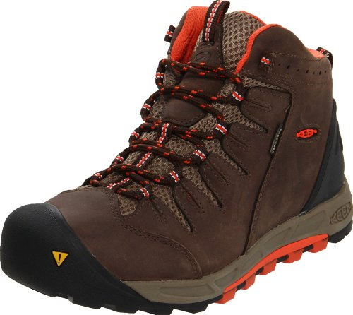 KEEN Women's Bryce Mid Hiking Boot,Chocolate Brown/Mandarin Red,8 M US