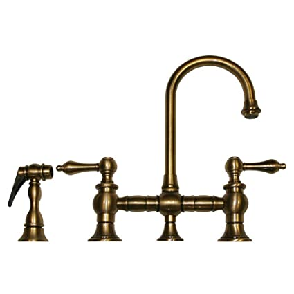 Whitehaus WHKBLV3-9106-ABRAS Vintage Iii 5 1/4-Inch Bar Bridge Faucet with Short Gooseneck Swivel Spout, Lever Handles and Solid Brass Side Spray, Antique Brass