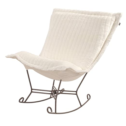 Howard Elliott 600-256 Scroll Puff Rocker with Titanium Frame, Mink Snow