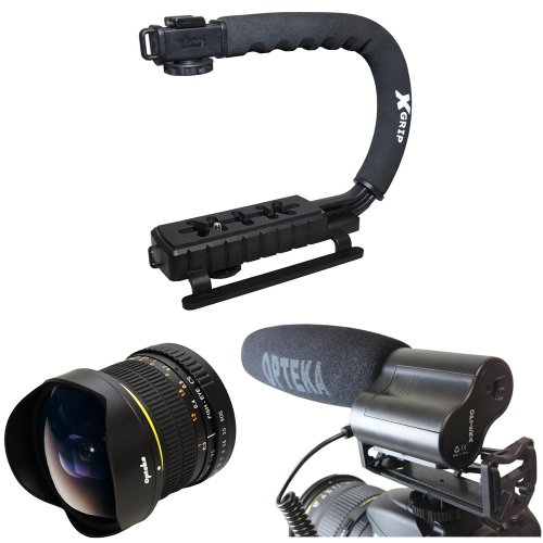 Opteka Action Filming Kit with 6.5mm Fisheye, X-Grip and Video Shotgun Microphone for The Canon EOS Rebel T5I T4I SL1 T5 1100D 1000D T3 T3i 60D 600D 650D 7D 350D XS i XT XTI XS T2i, T1i, 50D, 40D, 30D, 20D, 6D, 5D, 1D, Kiss X5, Kiss X4, Kiss X6i, kISS X7i & 550D Digital SLR Cameras