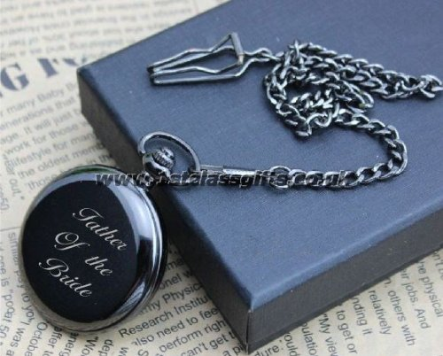 POCKET WATCH FATHER OF THE BRIDE LOGO PWG9 BLACK CAN BE PERSONALISED ENGRAVED FREE