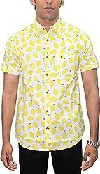 AA' Southbay Men's White Lemon Print 100% Cotton Half Sleeve Hawaiin Print Beach Wear Casual Shirt