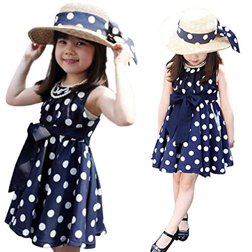 Sannysis(Tm) Polka Dot Girl Chiffon Sundress Dress (L, Blue) front-12433